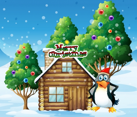 Illustration of a penguin celebrating christmas Vector