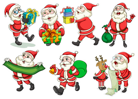 Illustration of a busy Santa on a white background Vector