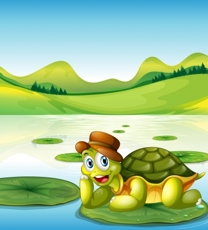 Illustration of a happy turtle above the floating waterlily Illustration