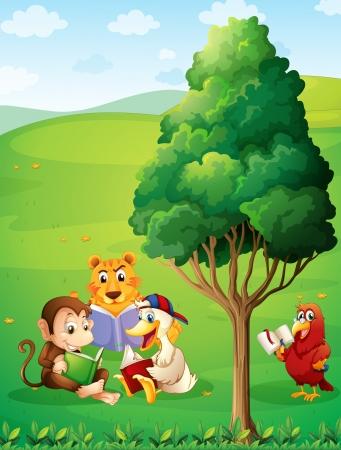 Ilustración de los animales de la lectura bajo el árbol en la cima de la colina