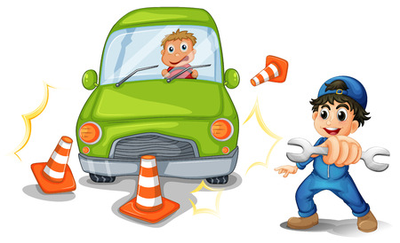 Illustration of a car accident and a mechanic on a white background Vector