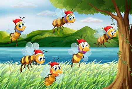 Illustration of a group of bees going to the tree at the riverbank Vector