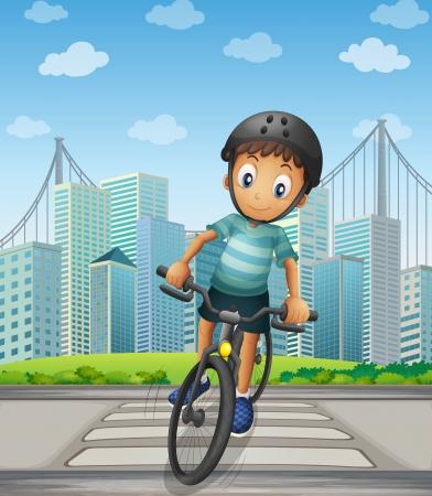 Illustratie van een jongen fietsen in de stad