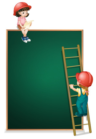Illustration of a girl sitting above the empty board and a girl climbing the ladder on a white background Vector