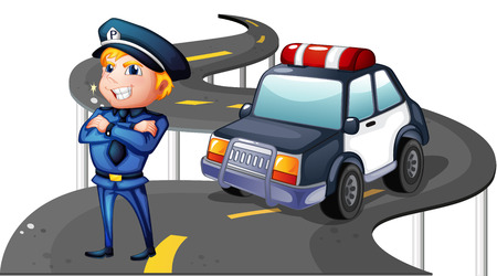 Illustration of a police and his patrol car in the middle of the road on a white background Vector