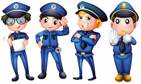 Illustration of the four policemen on a white background Vector