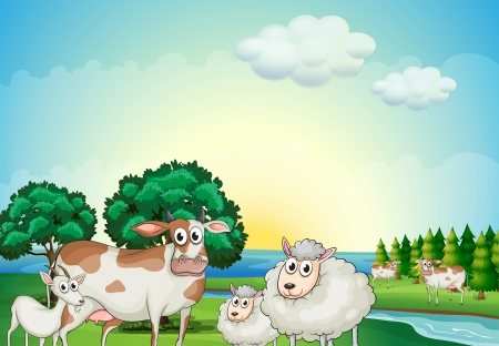 herbivorous: Illustration of the sheeps, cow and goat near the flowing river Illustration