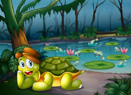 Illustration of a turtle in the middle of the forest near the river