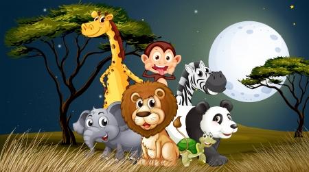 mono caricatura: Ilustración de un grupo de animales juguetones bajo la luna llena brillante