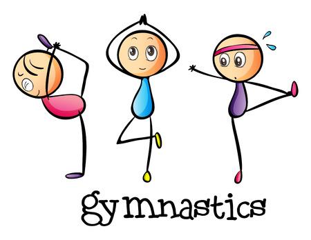 gymnastik: Illustration av stickmen gör gymnastik på en vit bakgrund