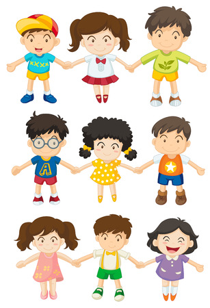happy children: Illustration of the kids holding their hands on a white background