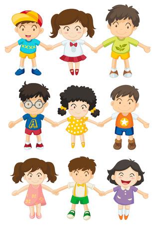 niños felices: Ilustración de los niños tomados de las manos sobre un fondo blanco
