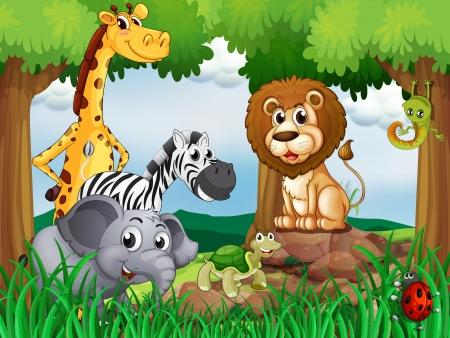 Illustration einer Gruppe von Tieren in der Mitte des Waldes