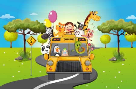 Illustration of a group of happy animals travelling Vector