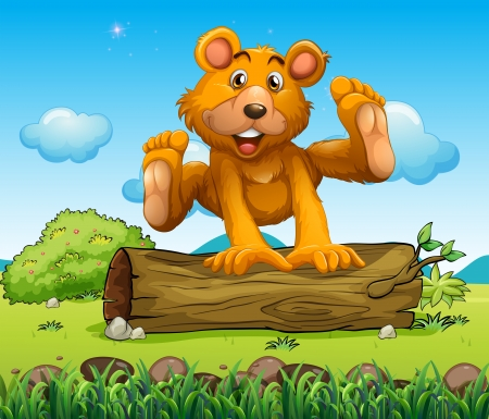 Illustration of a bear playing with the trunk outdoor Vector