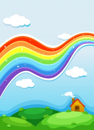 Illustration of a rainbow above the hills Vector