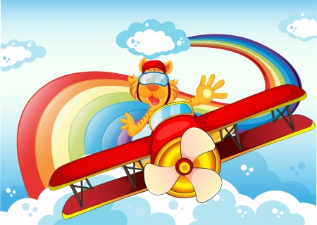 Illustration of a tiger on a plane near the rainbow Vector