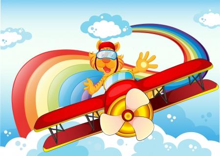 boastful: Illustration of a tiger on a plane near the rainbow