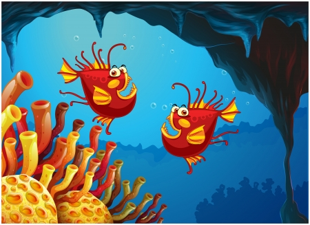 Illustration of the two fishes under the sea near the coral reefs on a white background Vector