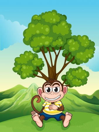 frowning: Illustration of a monkey frowning under the tree at the hilltop