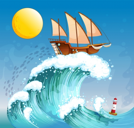 Illustration of a ship above the giant waves Vector