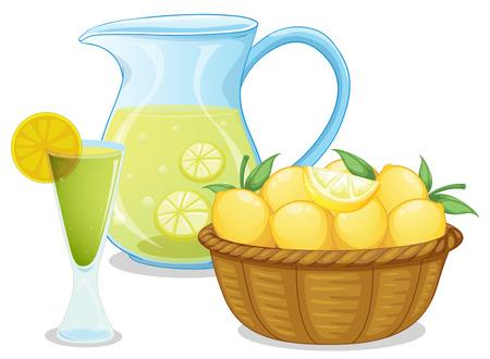 fruit stalk: Illustration of a basket of lemon beside the pitcher with lemonade on a white background