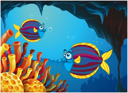 sea creatures: Illustration of the two colorful fishes inside the cave under the sea on a white background