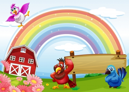 Illustration of the birds at the farm with a rainbow and an empty signboard Vector