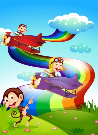 plane cartoon: Illustration of a sky with a rainbow and planes with monkeys