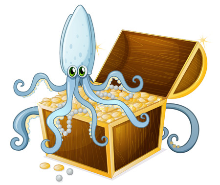 Illustration of an octopus above the treasure box on a white background Vector
