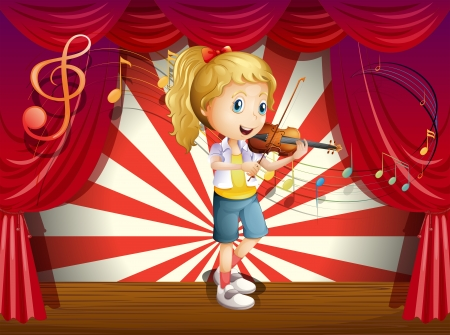 Illustration of a stage with a young performer Vector