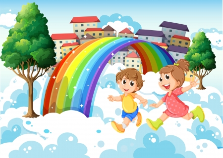 Illustration of the kids playing near the rainbow