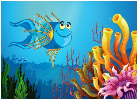 Illustration of a blue fish under the sea near the coral reefs on a white background Vector