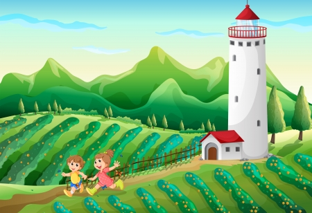 playmate: Illustration of the kids playing at the farm