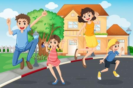jumping fence: Ilustración de un salto de la familia feliz en la calle