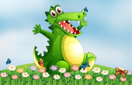 Illustration of a hilltop with a smiling crocodile Vector