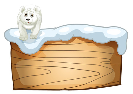 viewing angle: Illustration of a white polar bear above the wooden signboard on a white background