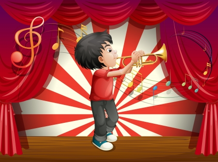 stageplay: Illustration of a stage with a male musician Illustration