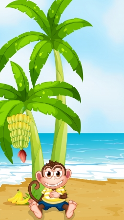 Illustration of a monkey resting under the banana plant at the beach Vector
