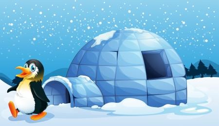 northpole: Illustratie van een pinguïn in de buurt van de iglo