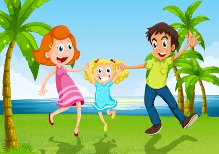 tanzen cartoon: Illustration von einem glücklichen Familien tanzen in der Nähe des Flusses Illustration