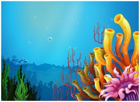 白い背景に海の下で美しい景色の図  イラスト・ベクター素材