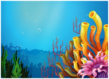 Illustration of a beautiful view under the sea on a white background Иллюстрация