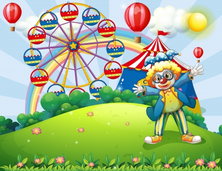 hilltop: Illustration of a clown at the hilltop with a carnival and a rainbow at the back