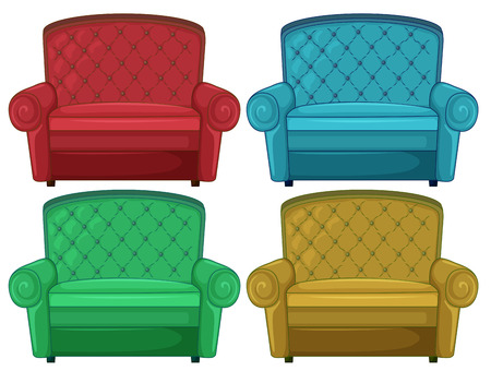 comfy: Illustration of the four colorful couches on a white background