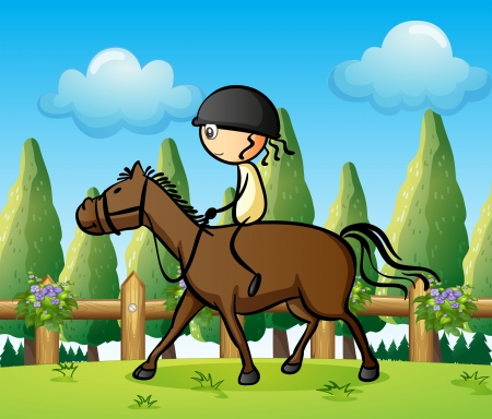 Illustration of a girl riding on a horse Vector