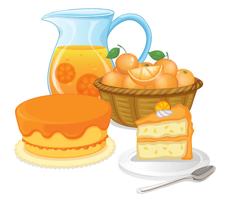 oranges: Illustration of cakes and juice drinks on a white background