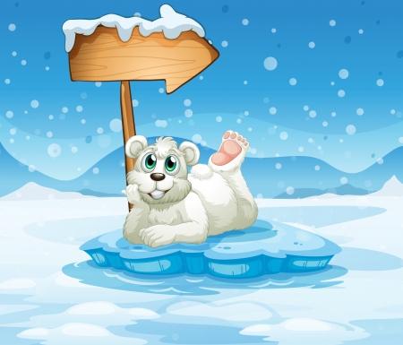 northpole: Illustratie van een ijsberg met een beer en een pijl