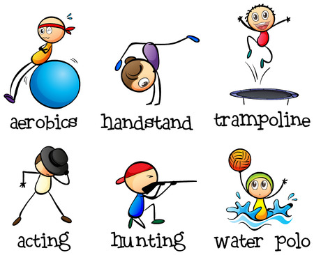 teammates: Illustration of the different recreational activities on a white background