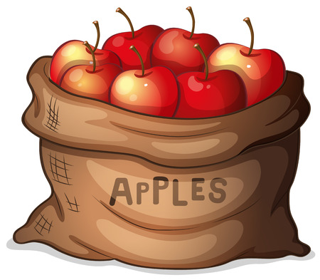 market gardening: Illustration of a sack of apples on a white background